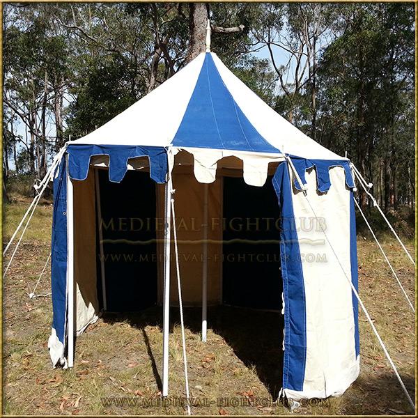 Blue & White Pavilion - Striped Round Tent (3m diameter)Open