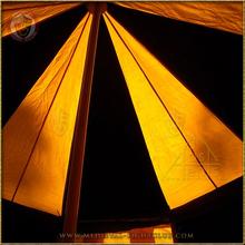 Black & Yellow Pavilion - Striped Round Tent (3m Diameter) Roof Interior