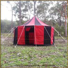 Red & Black Pavilion - Striped Round Tent (5m diameter) Long Shot