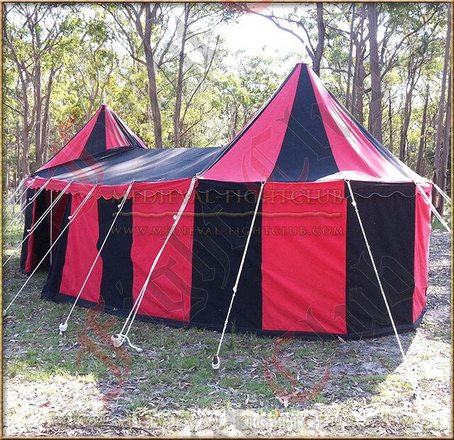 Double Tudor Pavilion Red & Black Side View